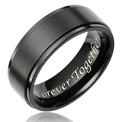 Men's Black Titanium Ring Inner Shank Engraved Wedding Band