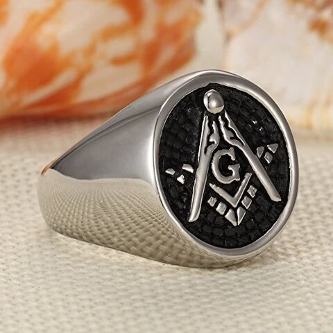 Stainless Steel Silver and Black Embossed Masonic Ring