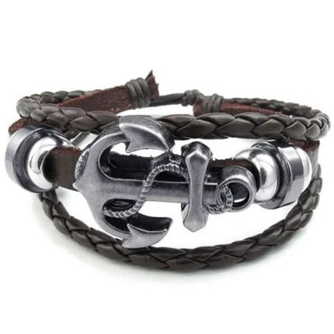 Brown and Silver Vintage Anchor Leather Bracelet