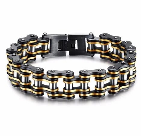 Black and Gold Wide Chain Bracelet