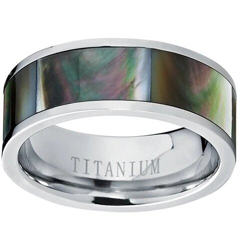 Titanium with Black Gradient Abalone Inlay Ring