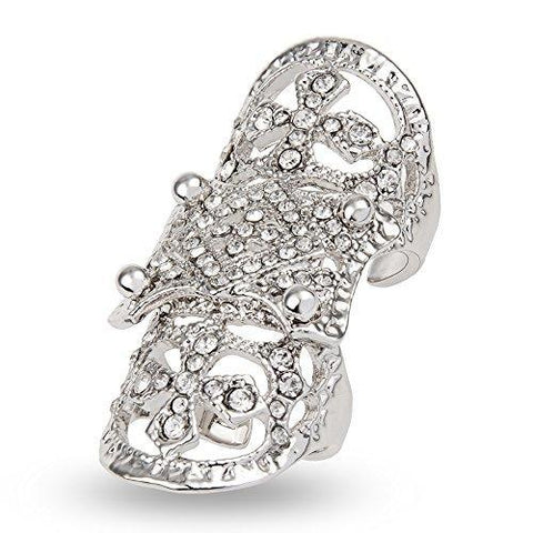 Crystal Pave Cross Knuckle Fashion Ring