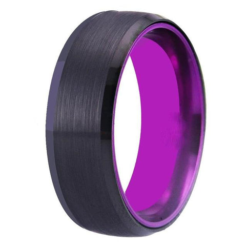 Brushed Black & Purple Tungsten Carbide Ring