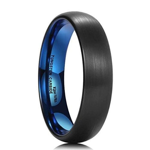 Two-Tone Blue Black Dome Tungsten Carbide Ring