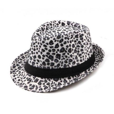 Leopard Print Acrylic Cotton Trilby Hat (3 Available Color)