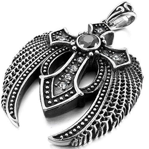 Black Gothic Crystal Winged Stainless Steel Pendant Necklace