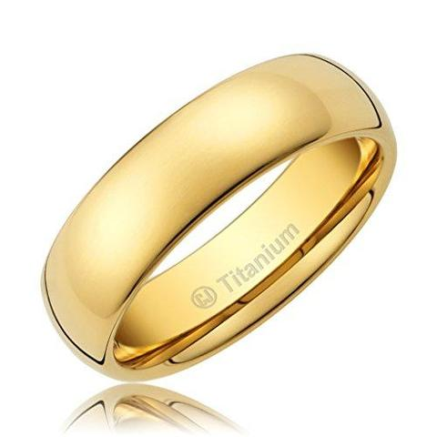 Men's 18K Gold-Plated Titanium Wedding Band