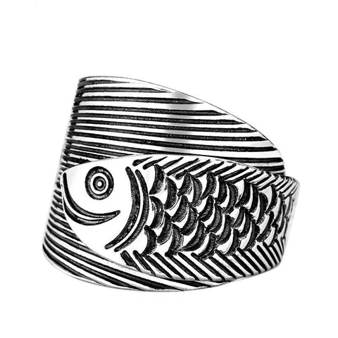 990 Silver Fish Engraved Statement Ring