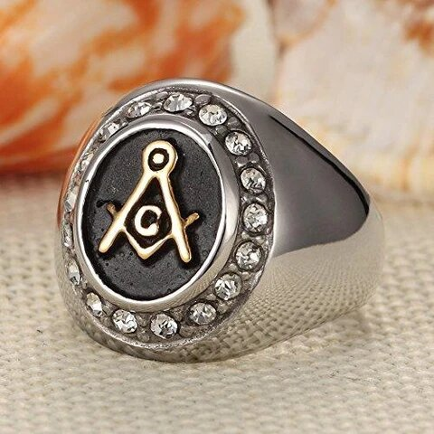Stainless Steel with Gold Plated Masonic Logo and Cubic Zirconia