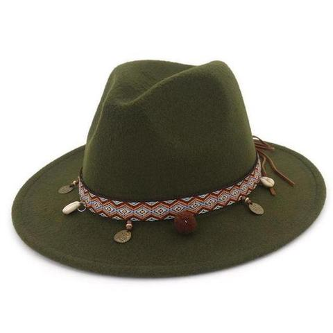 Native Pattern Hatband Fedora(10 Available Colors)