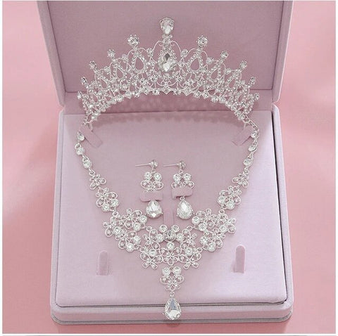 Queen Marquise Zirconia Crystal Stainless Jewelry Set