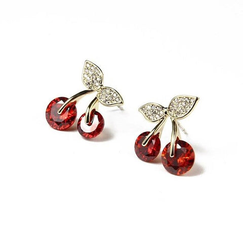 Red Crystal Cherry Gold Sterling Silver Stud Earrings