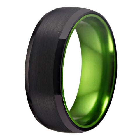 Brushed Black & Green Tungsten Ring