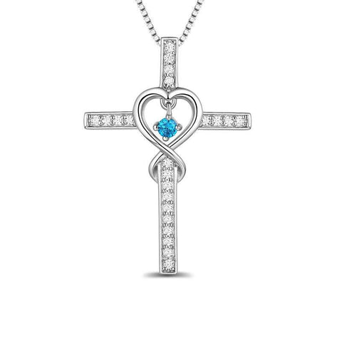 Infinity Heart Cross Blue Crystal Drop Silver-Tone Necklace