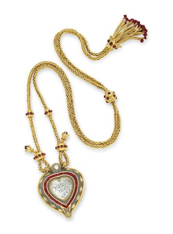 Taj Mahal Ruby and Gold Chain Diamond, by Cartier