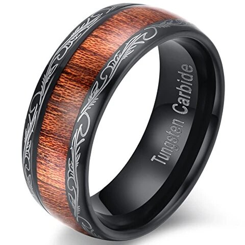 Black Tungsten Carbide Koa Wood Inlay with Lasered Edges Ring