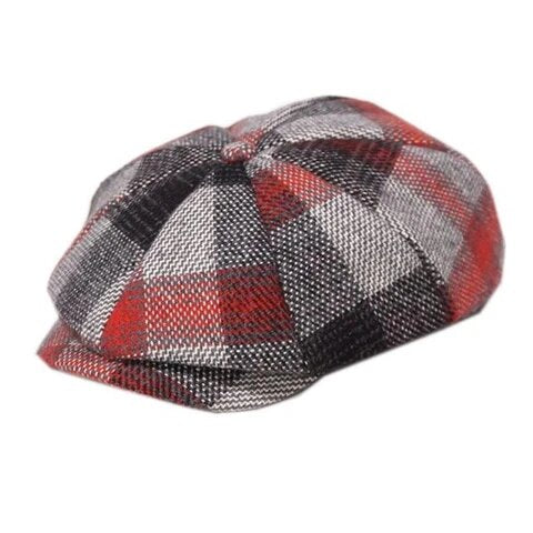 Multicolor Plaid Eight Panel Tweed Cap