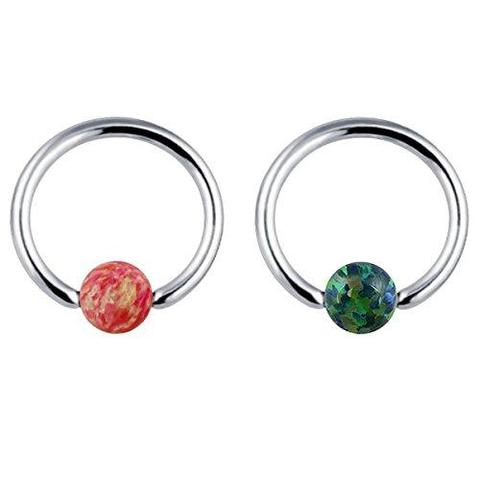 2 Piece Stainless Steel Simulated Red Green Crystal Nose Ring