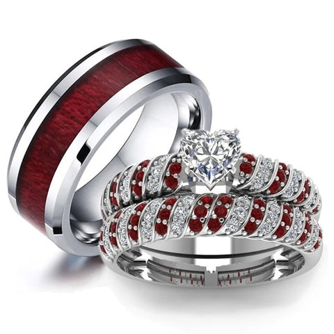 Red & White CZ Koa Wood Stainless Ring Set