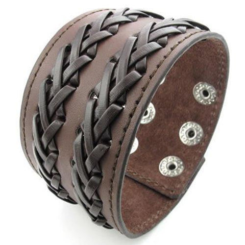 Double Braided Wide Brown Leather Bracelet