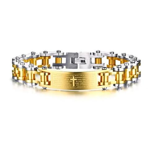 Stainless Steel Gold Plated Cross Biker Chain Lord's Prayer Bracelet