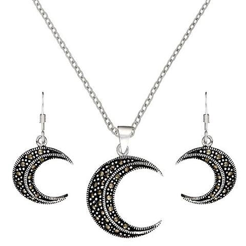 Sterling Silver Marcasite Crescent Moon Earrings Pendant Set