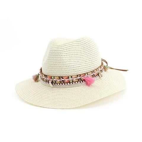 Feminine Tassel Cowrie Pendant Straw Hat (8 Available Colors)