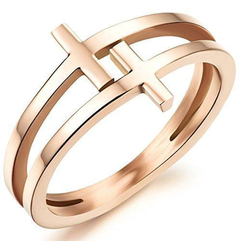 Gold Plated Double Cross Titanium Ring