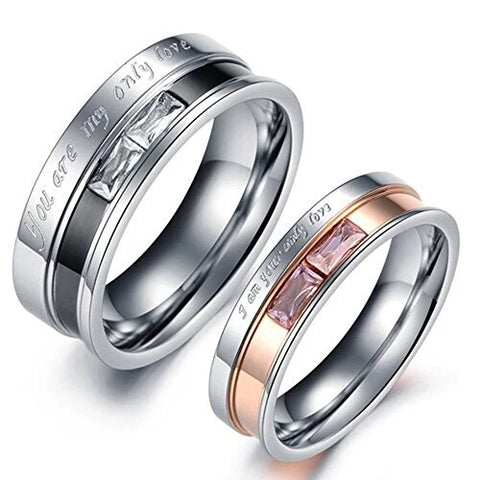 Stainless Steel Only Love Engraved Couple Ring