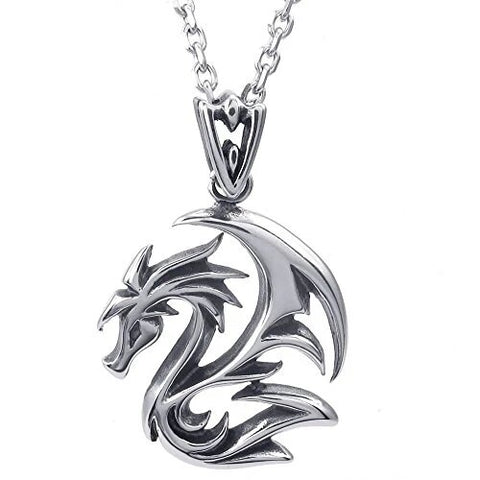 Silver Goth Dragon Stainless Steel Pendant Necklace