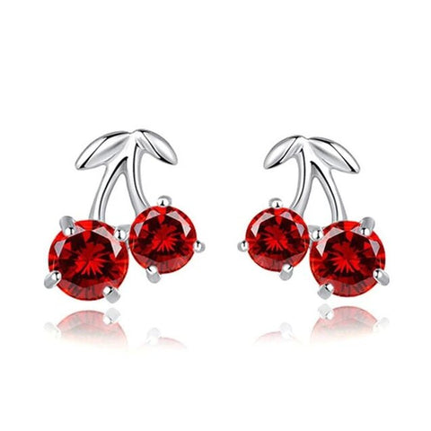 Red Crystal Cherry Sterling Silver Stud Earrings