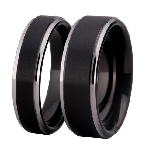 Unisex Soft Brushed Matte Black Tungsten Ring