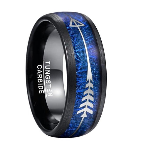 Silver Arrow-Shaped Tungsten Carbide Blue Meteorite Wedding Band