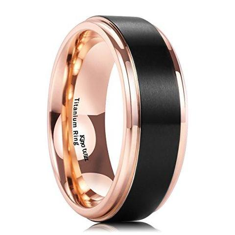 Men's 18k Rose Gold Plated Black Titanium Wedding Band