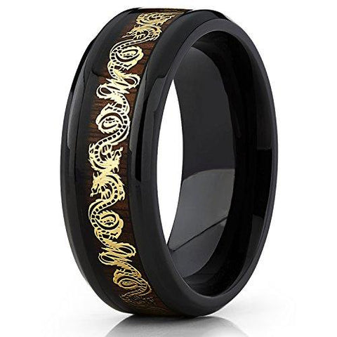 Gold-Tone Dragon Inlay Over Real Wood Titanium Wedding Band