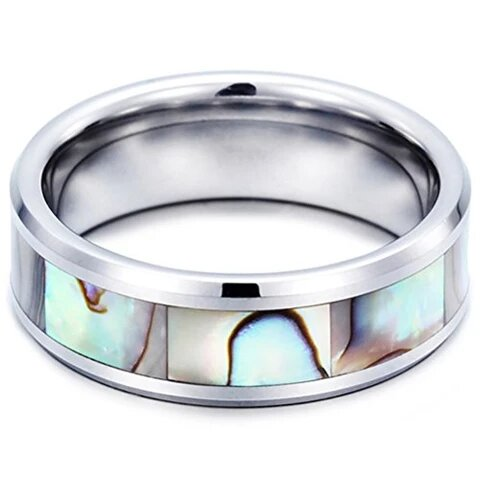 Tungsten Carbide Vintage Abalone Shell Inlay Wedding Band