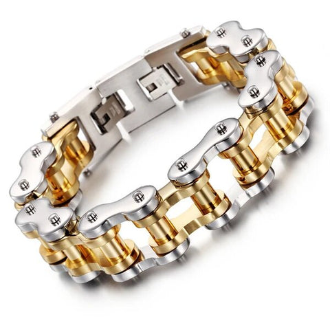 Silver and Gold Titanium Motorcycle Bracelet