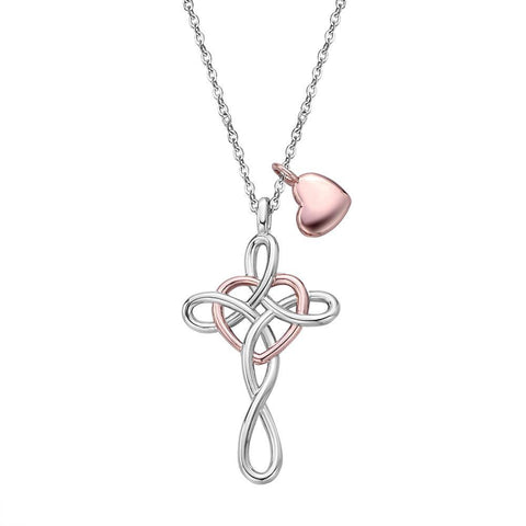Two-Tone Infinity Knot Cross Heart Charm Necklace