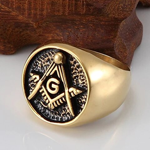 Men's Stainless Steel Golden Polished Masonic Ring