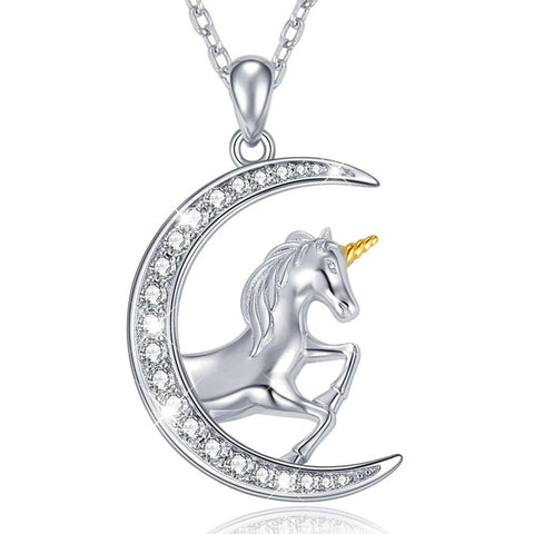 Unicorn Crystal Crescent Moon Sterling Silver Pendant Necklace