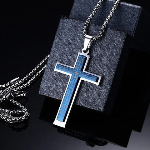 Lord's Prayer Stainless Steel Blue Plated Cross Pendant Necklace