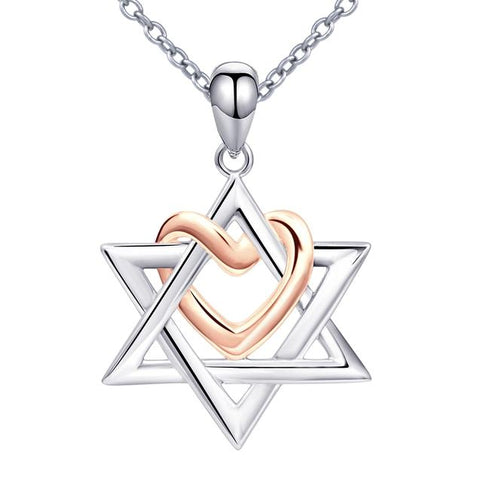 Rose Gold Heart Star of David Sterling Silver Necklace