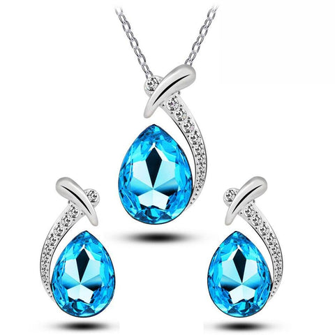 Colored Zirconia Fish Tail Stainless Jewelry Set