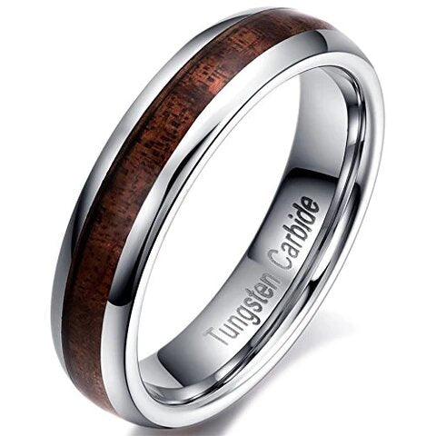 Tungsten Carbide with Acacia Wood Inlay Comfort Fit Ring