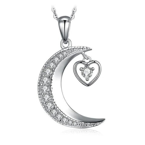 Crescent Moon Heart Crystal Pendant Necklace