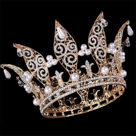 White Crystal Pearl Crown for Men and Women