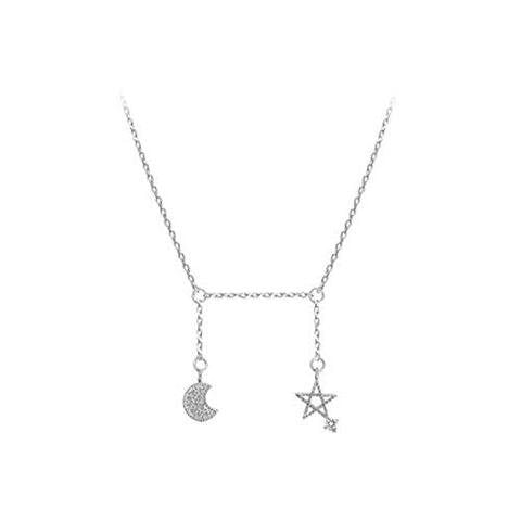 Silver Moon Star Jewelry Pendant Lariat Necklace