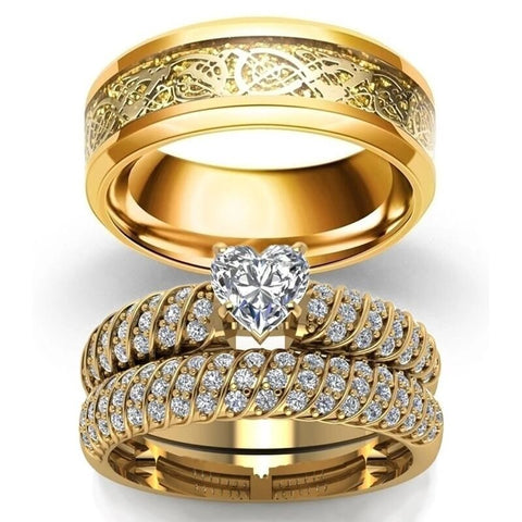 Gold Dragon Solitaire Pave Rings Set