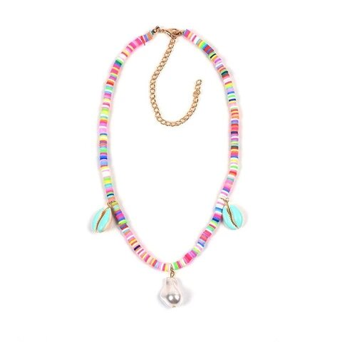 Disk Candy Color Bead Puka Shell Pearl Pendants Necklace