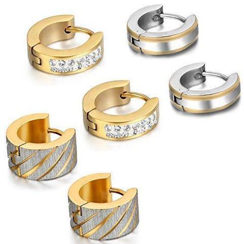 6PCS Gold Silver Crystal Stainless Steel Huggie Earring Set